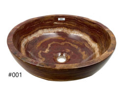Picture of SoLuna Round Red Onyx Vessel Bath Sink with Flat Rim - Sale