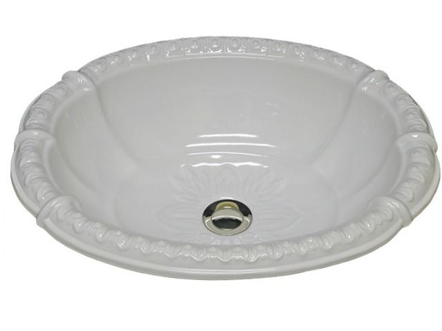 "Picture of Marzi 20"" Fluted Oval Sink with Romanesque Relief Rim"