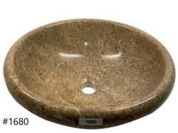 SoLuna Oceanic Fossil Stone Sink with Rounded Rim