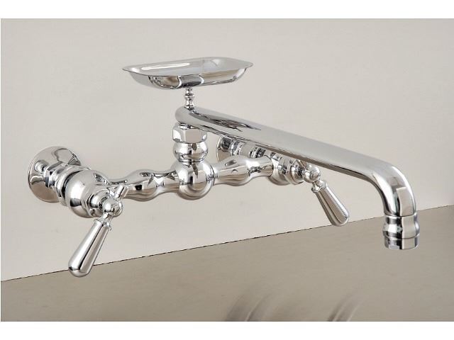 """Picture of Strom Plumbing 12"""" Swivel Spout Wall-Mount Kitchen Faucet with Soap Dish & Lever Handles"""