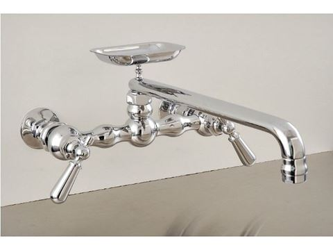 """Strom Plumbing 12"""" Swivel Spout Wall-Mount Kitchen Faucet with Soap Dish & Lever Handles"""