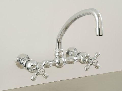 Strom Plumbing Wall-Mounted Kitchen Faucet with Arched Swivel Spout & X-Point Handles