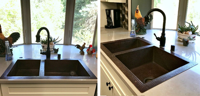 Colette's 40/60 Double Well Copper Kitchen Sink