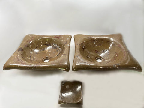 Tortuga Fossil Vessels in Desert Oasis - Set of 2