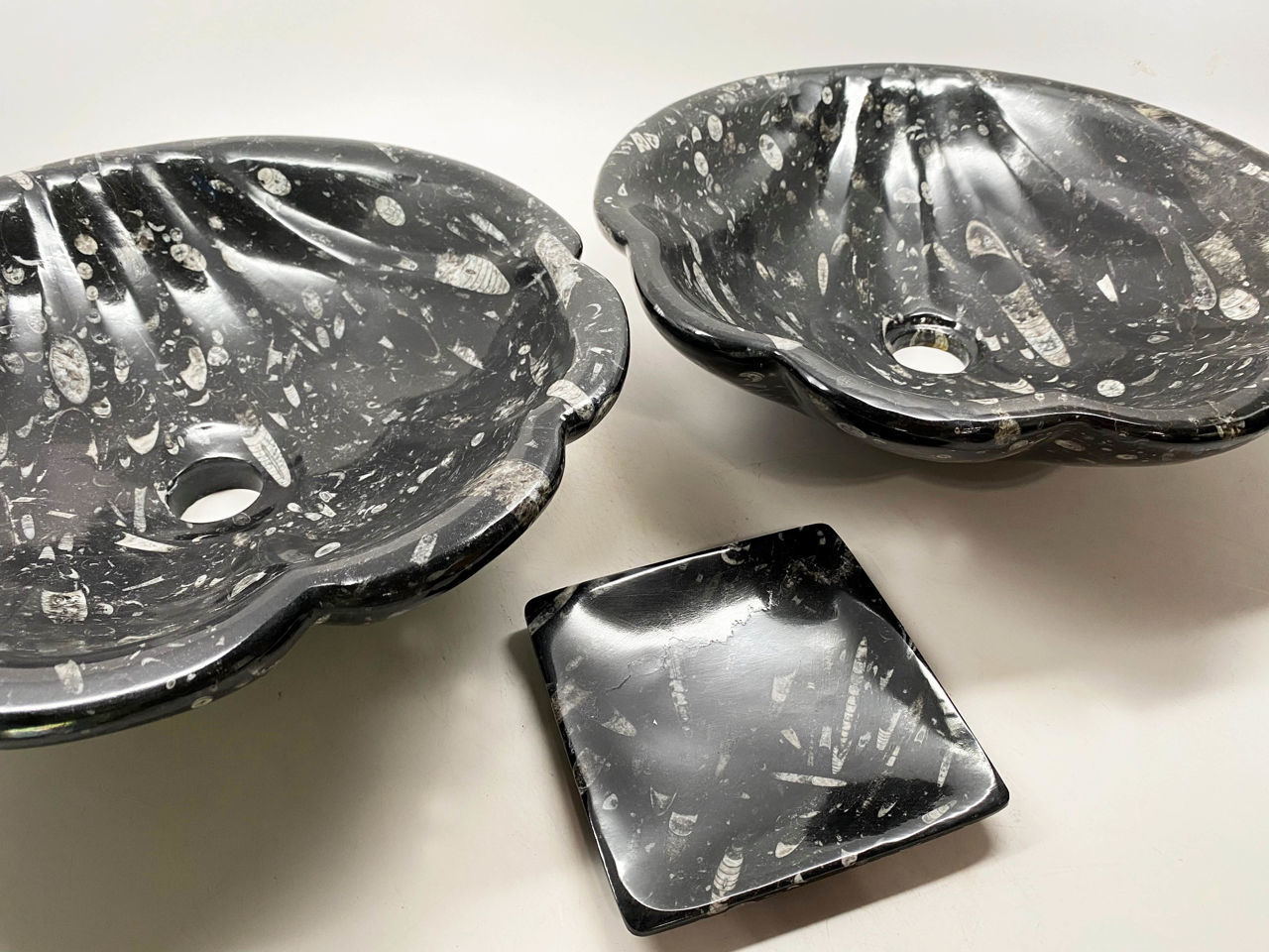 Picture of Shell Fossil Vessel in Noir - Set of 2