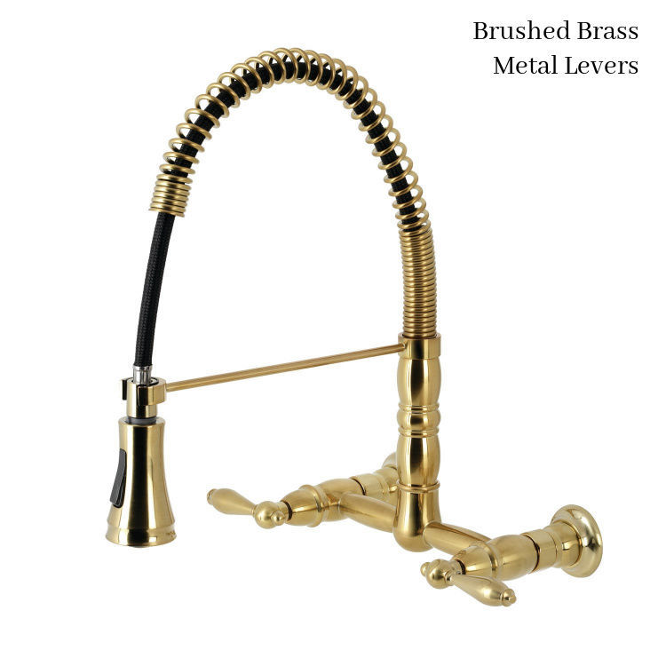 Gourmetier Heritage wall-mount faucet GS1247AL Brushed Brass Finish - Metal Lever Handles