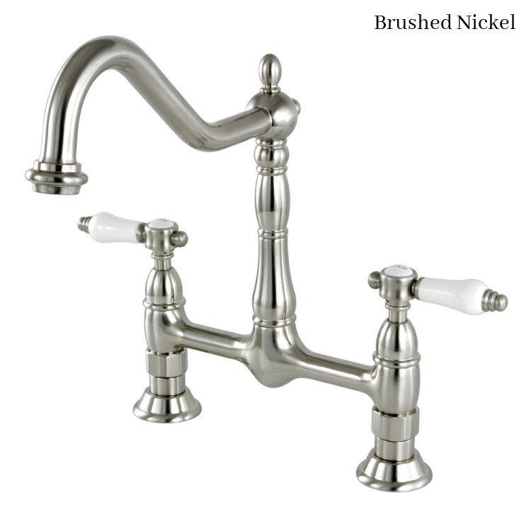 KIngston Brass Bel Air Bridge Kitchen Faucet KS1178BPL Brushed Nickel Finish