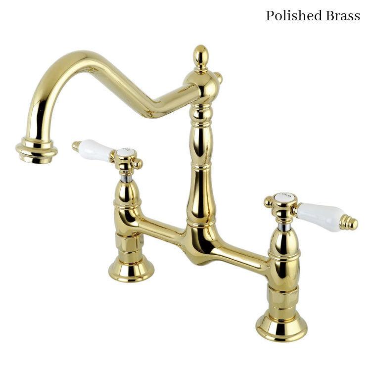 KIngston Brass Bel Air Bridge Kitchen Faucet KS1172BPL Polished Brass Finish