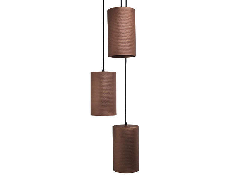 Picture of Cascading Copper Canister Pendant Chandelier by Soluna 3-Pc