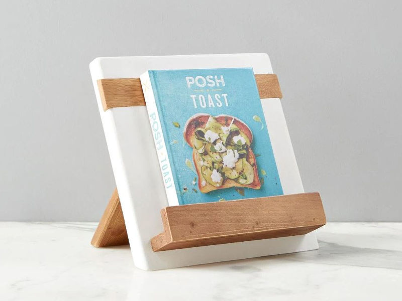 Picture of Reclaimed Wood Cook Book / iPad Holder in White