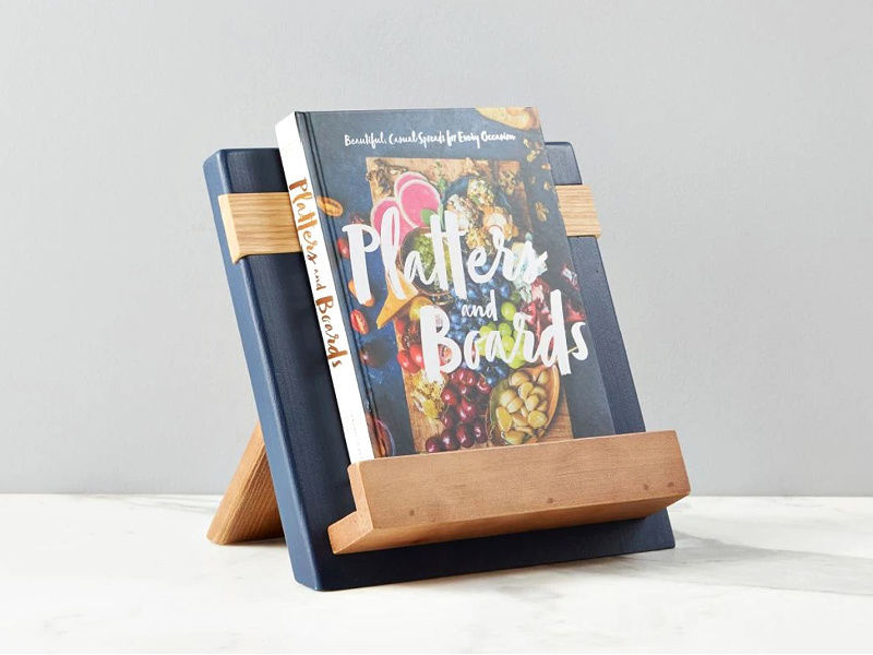 Picture of Reclaimed Wood Cook Book / iPad Holder in Navy