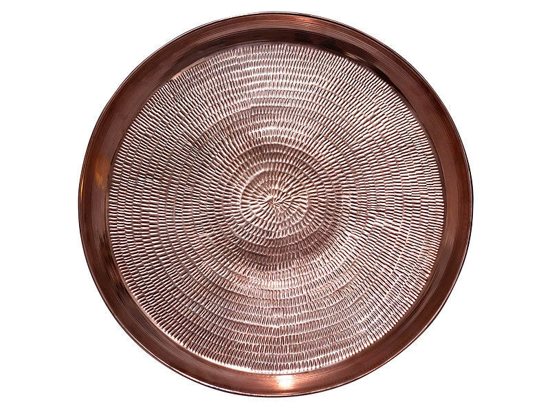 Picture of Round Polished Copper Serving Tray By Soluna