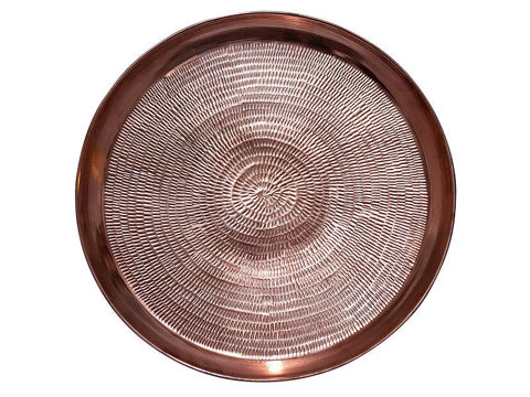 Round Polished Copper Serving Tray By Soluna