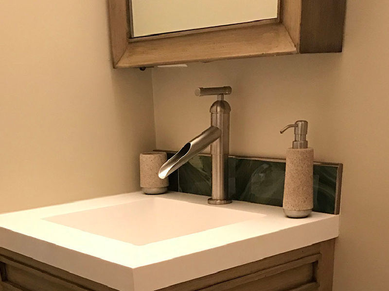 Picture of Sonoma Forge   Bathroom Faucet   Brut Waterfall Spout   Deck Mount