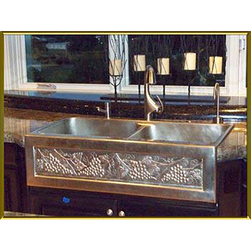 "36"" Chameleon Double Well Bronze Farmhouse Sink"