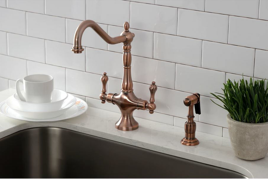 Picture of Kingston Brass Heritage Single Post Kitchen Faucet with Spray