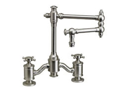 "Waterstone Towson 12"" Articulated Spout Bridge Kitchen Faucet - Cross Handles"
