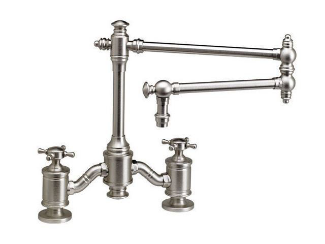 """Picture of Waterstone Towson 18"""" Articulated Spout Bridge Kitchen Faucet - Cross Handles"""