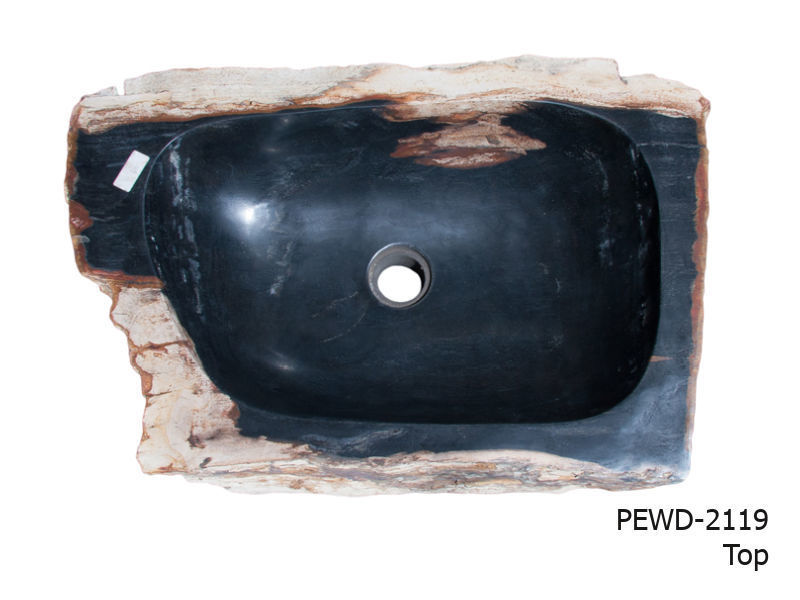 """Picture of Medium Black and Beige Petrified Wood Sink 22""""-26"""""""