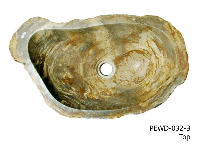 """Picture of Small Brown and Beige Petrified Wood Sink 19""""-21"""""""