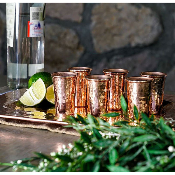 Picture of Polished Copper Shot Glasses  and Copper Serving Tray By SoLuna - Set of 6