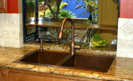 double well copper kitchen sink