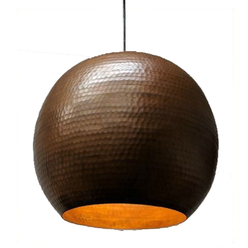 Copper Globe Pendant in Cafe Natural Finish